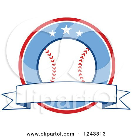 Clipart of a Cartoon Baseball in a Red and Blue Circle with a Banner - Royalty Free Vector Illustration by Hit Toon
