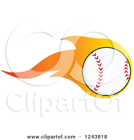 Clipart of a Cartoon Baseball with a Trail of Flames - Royalty Free Vector Illustration by Hit Toon
