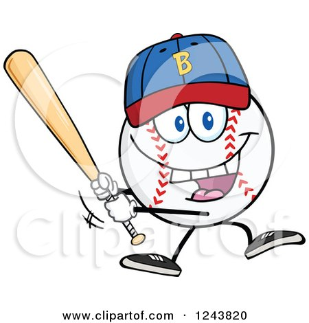 Clipart of a Cartoon Baseball Character Wearing a Cap and Batting - Royalty Free Vector Illustration by Hit Toon