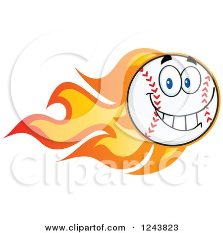 Clipart of a Happy Cartoon Baseball Character with a Trail of Flames - Royalty Free Vector Illustration by Hit Toon