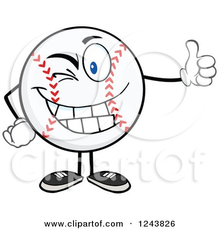 Clipart of a Cartoon Baseball Character Giving a Thumb up and Winking - Royalty Free Vector Illustration by Hit Toon