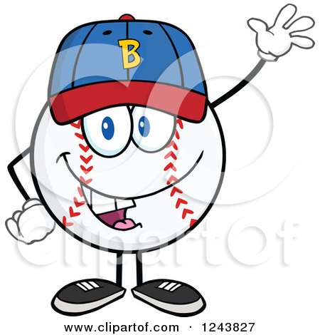 Clipart of a Cartoon Baseball Character Waving a Hat and Waving - Royalty Free Vector Illustration by Hit Toon