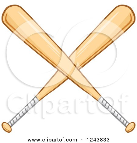 Clipart of Crossed Wooden Baseball Bats - Royalty Free Vector Illustration by Hit Toon