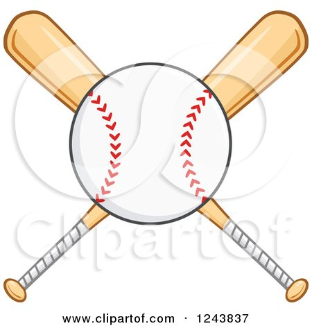 Clipart Of Crossed Wooden Baseball Bats And A Ball Royalty Free