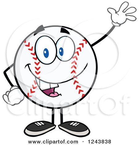 Clipart of a Cartoon Baseball Character Waving - Royalty Free Vector Illustration by Hit Toon