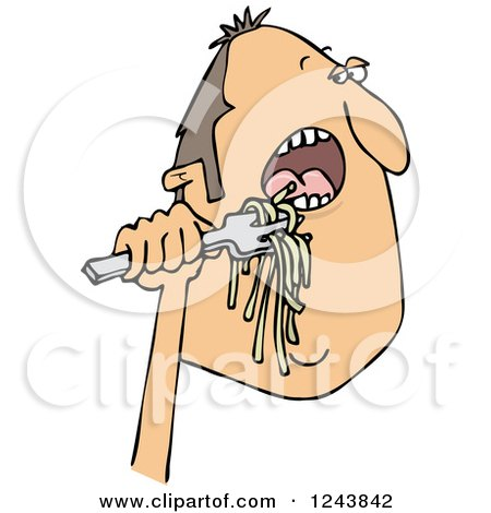 Clipart of a Caucasian Man Eating Spaghetti - Royalty Free Vector Illustration by djart