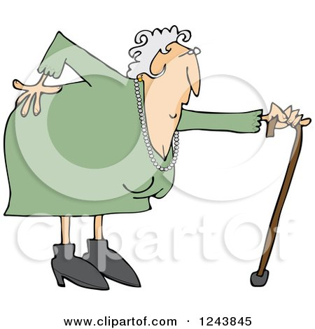 Clipart of a Caucasian Granny with a Bad Back and Cane - Royalty Free Vector Illustration by djart