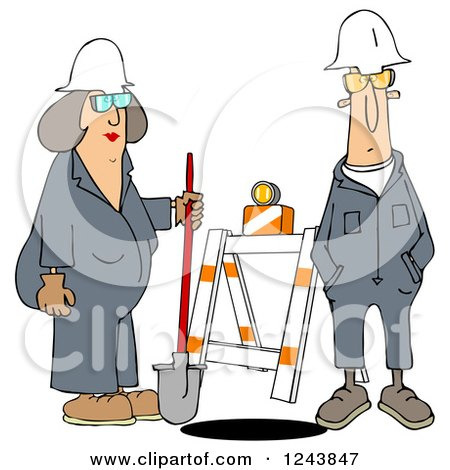 Clipart of Male and Female Construction Workers at a Manhole - Royalty Free Illustration by djart