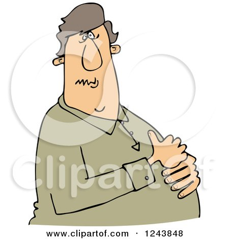 Clipart of a Caucasian Man with Heartburn, Holding His Chest - Royalty Free Vector Illustration by djart