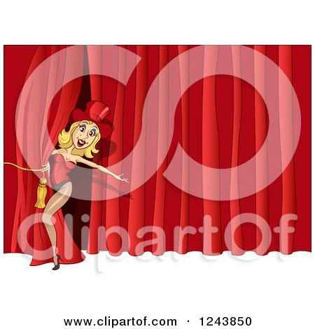 Clipart of a Female Performer on Stage - Royalty Free Vector Illustration by Holger Bogen