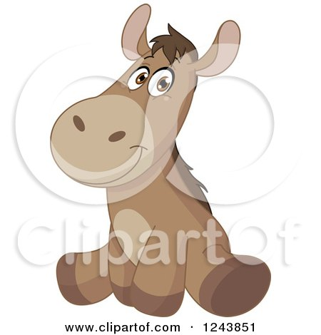 Clipart of a Cute Brown Baby Donkey Sitting - Royalty Free Vector Illustration by yayayoyo