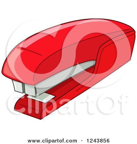 Clipart of a Red Stapler - Royalty Free Vector Illustration by yayayoyo