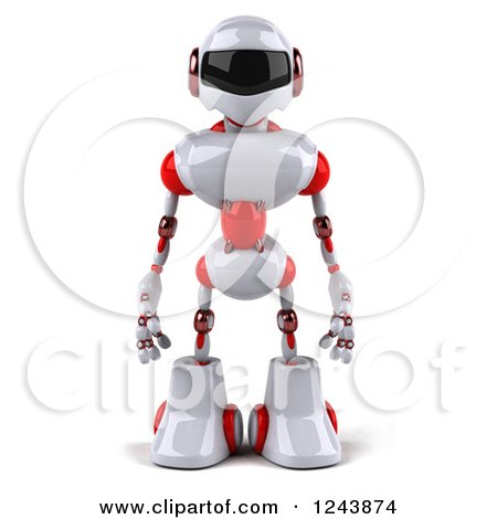 Clipart of a 3d White and Red Robot - Royalty Free Illustration by Julos