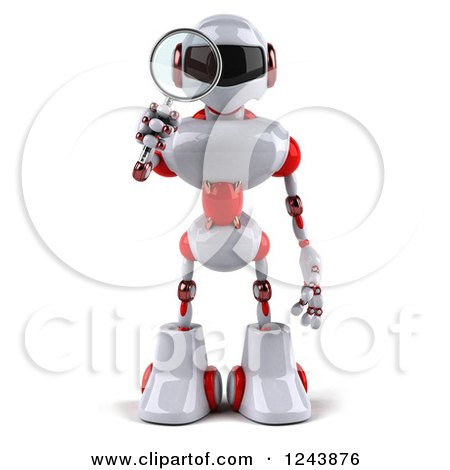 Clipart of a 3d White and Red Robot Looking Through a Magnifying Glass - Royalty Free Illustration by Julos