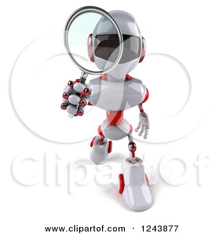 Clipart of a 3d White and Red Robot Walking and Looking Through a Magnifying Glass - Royalty Free Illustration by Julos