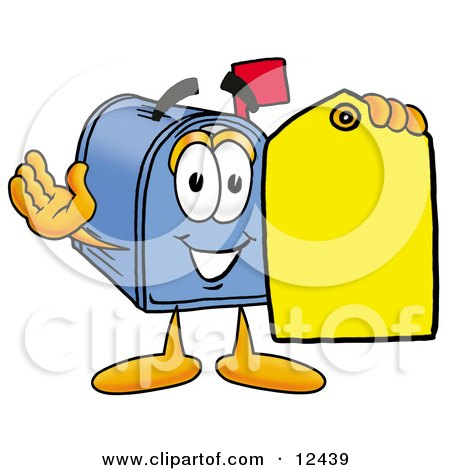 Clipart Picture of a Blue Postal Mailbox Cartoon Character Holding a Yellow Sales Price Tag by Toons4Biz