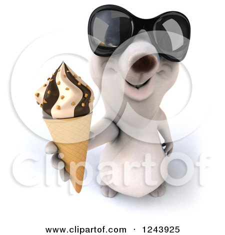 Clipart of a 3d Polar Bear in Sunglasses, Holding up an Ice Cream Cone - Royalty Free Illustration by Julos