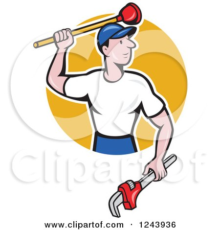 Cartoon Male Plumber with a Plunger and Monkey Wrench over a Circle Posters, Art Prints