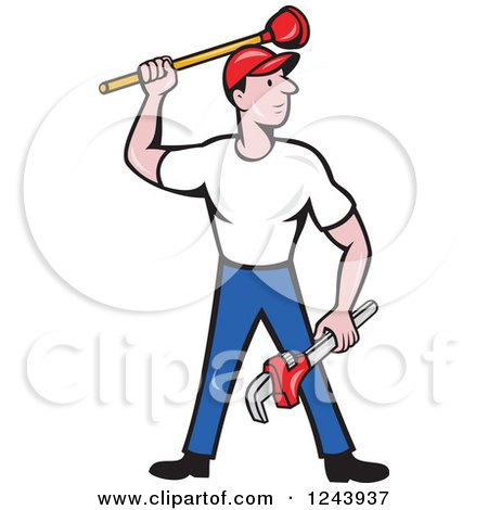 Clipart of a Cartoon Male Plumber Standing with a Plunger and Monkey Wrench - Royalty Free Vector Illustration by patrimonio