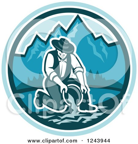 Clipart of a Retro Male Miner Panning for Gold in a Mountainous River - Royalty Free Vector Illustration by patrimonio