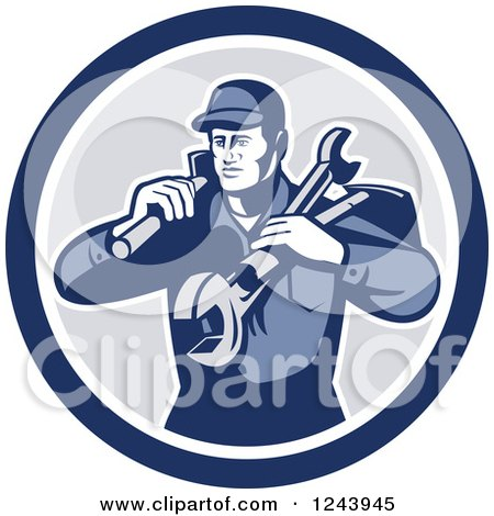 Retro Male Handyman or Mechanic with Tools in a Circle Posters, Art Prints