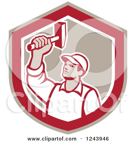Clipart of a Retro Male Union Worker Hammering in a Shield - Royalty Free Vector Illustration by patrimonio