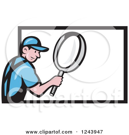 Clipart of a Cartoon Worker Man Using a Giant Magnifying Glass over a Billboard - Royalty Free Vector Illustration by patrimonio