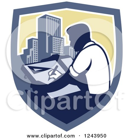 Clipart of a Retro Male Architect Drawing Plans over Skyscrapers in a Shield - Royalty Free Vector Illustration by patrimonio