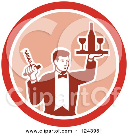 Clipart of a Retro Male Waiter Serving Wine in a Pink and Red Circle - Royalty Free Vector Illustration by patrimonio