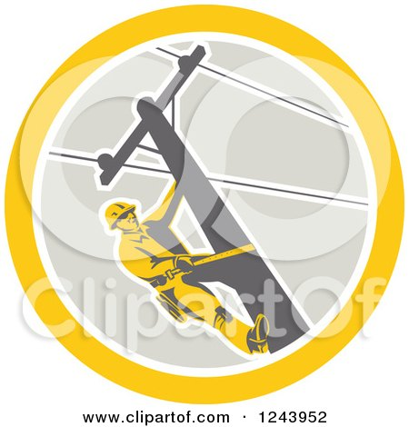 Clipart of a Retro Male Power Lineman Scaling a Pole in a Circle - Royalty Free Vector Illustration by patrimonio