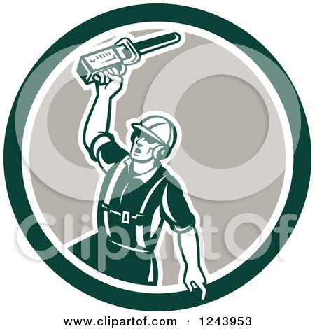 Clipart of a Retor Male Arborist Wielding a Chainsaw in a Circle - Royalty Free Vector Illustration by patrimonio