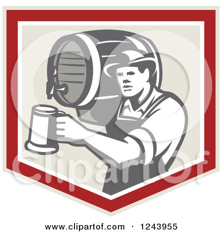 Clipart of a Retro Bartender Man Pouring a Beer from a Keg in a Shield - Royalty Free Vector Illustration by patrimonio