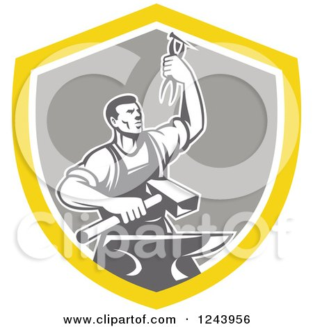 Clipart of a Retro Male Blacksmith Holding up Pliers over a Sledgehammer and Anvil in a Shield - Royalty Free Vector Illustration by patrimonio