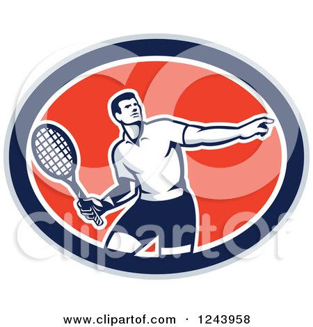 Clipart of a Retro Male Tennis Player Athlete in an Oval - Royalty Free Vector Illustration by patrimonio