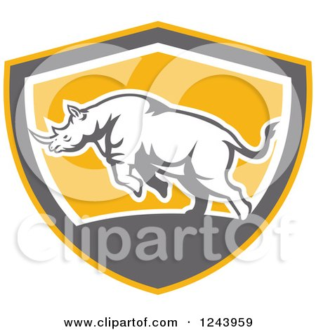 Clipart of a Retro Angry Rhinoceros Charging in a Shield - Royalty Free Vector Illustration by patrimonio