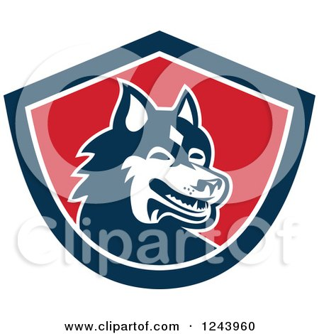 Clipart of a Siberian Husky Dog in a Shield - Royalty Free Vector Illustration by patrimonio