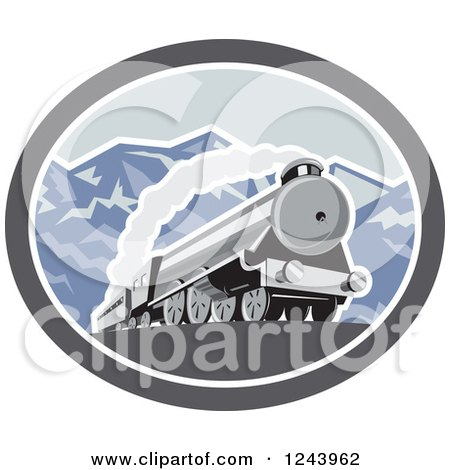 Clipart Of A Steam Engine Train In The Mountains Inside An Oval Royalty Free Vector Illustration