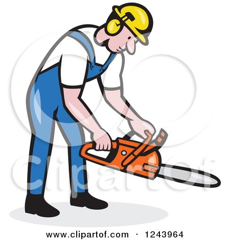 Clipart of a Cartoon Lumberjack Holding a Chainsaw - Royalty Free Vector Illustration by patrimonio