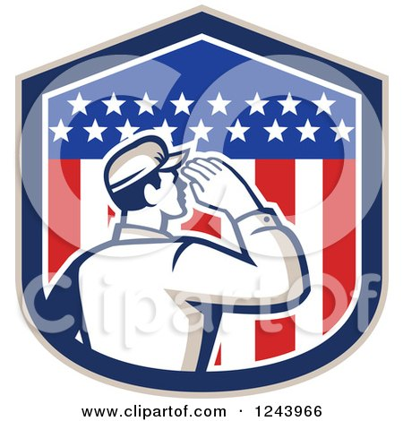 Clipart of a Retro Male Soldier Saluting in an American Flag Shield - Royalty Free Vector Illustration by patrimonio