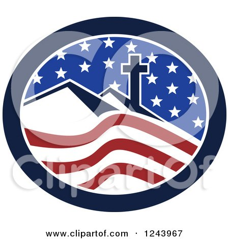 Clipart of a Christian Cross on Hills in an American Oval - Royalty Free Vector Illustration by patrimonio