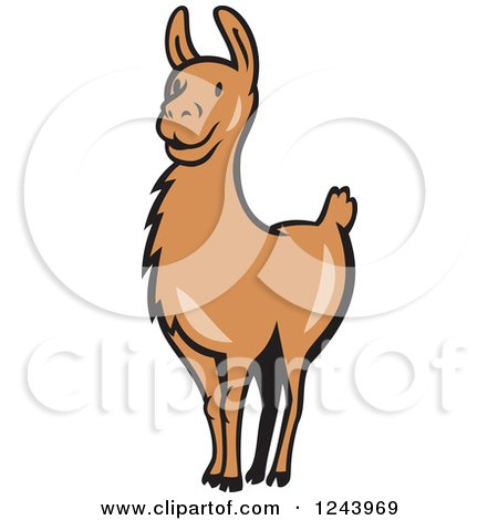 Clipart of a Brown Alert Llama - Royalty Free Vector Illustration by patrimonio