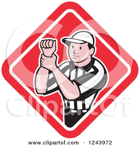 Clipart of a Cartoon Male American Football Referee Signalling Illegal Use of Hands in a Diamond - Royalty Free Vector Illustration by patrimonio