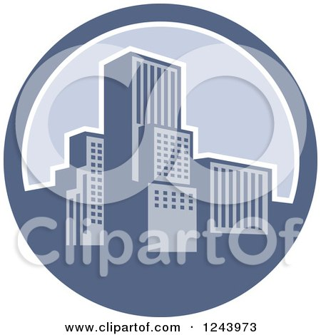 Clipart Of A Retro City In A Blue Circle Royalty Free Vector Illustration