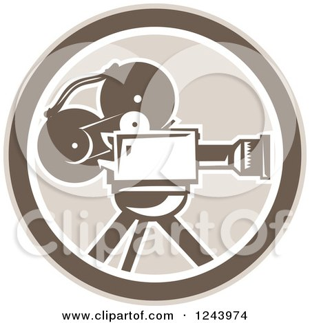 Clipart of a Retro Film Movie Camera in a Circle - Royalty Free Vector Illustration by patrimonio