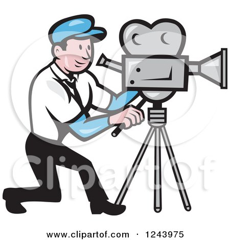 Clipart of a Cartoon Camera Man at Work - Royalty Free Vector Illustration by patrimonio
