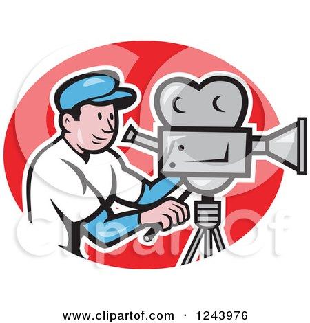 Clipart of a Cartoon Camera Man in a Red Oval - Royalty Free Vector Illustration by patrimonio