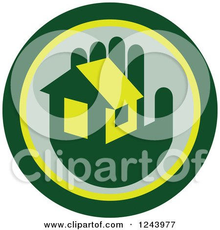 Clipart of a Green Hand Holding a House in a Circle - Royalty Free Vector Illustration by patrimonio