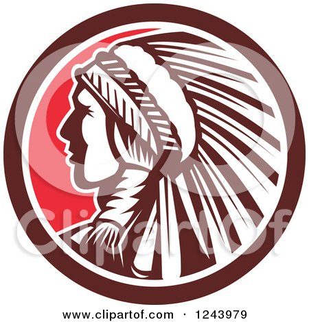 Clipart of a Retro Native American Indian Chief in Profile in a Circle - Royalty Free Vector Illustration by patrimonio