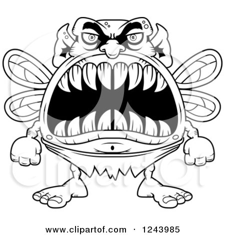 Clipart of a Black and White Monster Fairy with Big Teeth - Royalty Free Vector Illustration by Cory Thoman
