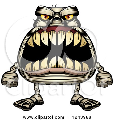 Clipart of a Mummy Monster with Big Teeth - Royalty Free Vector Illustration by Cory Thoman